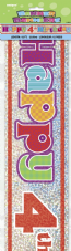 Happy 4th Birthday Party Foil Banner
